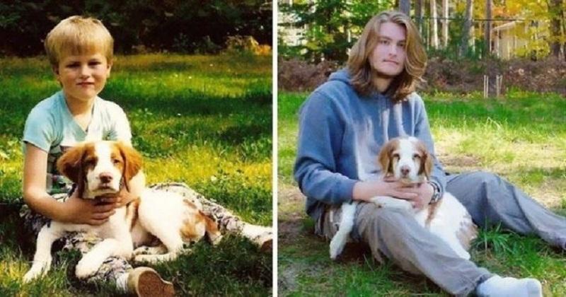 14 fotos de pessoas que cresceram juntas com seu cachorro